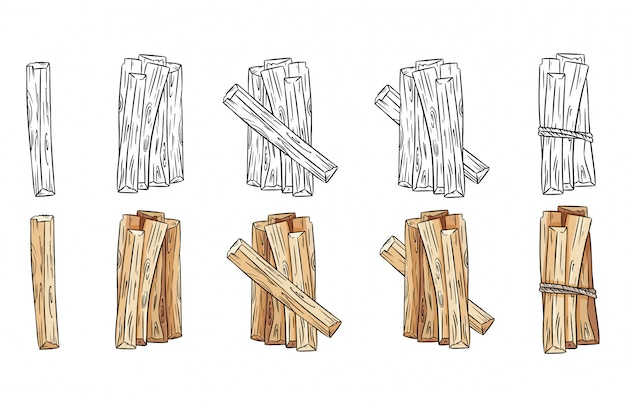Set of wood sticks black and white and colorful bundles. collection of palo santo aroma sticks from latin america. images isolated on white background