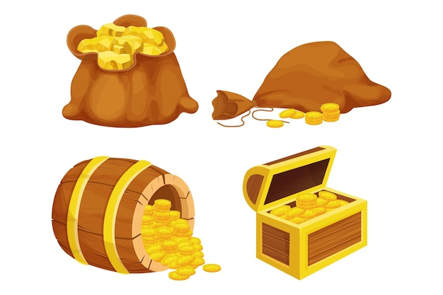 Set wooden barrel chest and old bag with shiny gold coins golden nugget in cartoon style isolated on white background ui asset reward sign retro elements