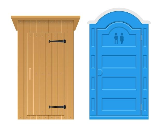Set of wooden and bio outdoor toilet