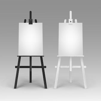 Set of wooden black white easels