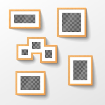 Set of wooden blank picture frames with transparent place for photo in different proportions