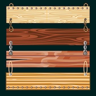 Набор деревянных досок, подвесных цепей
