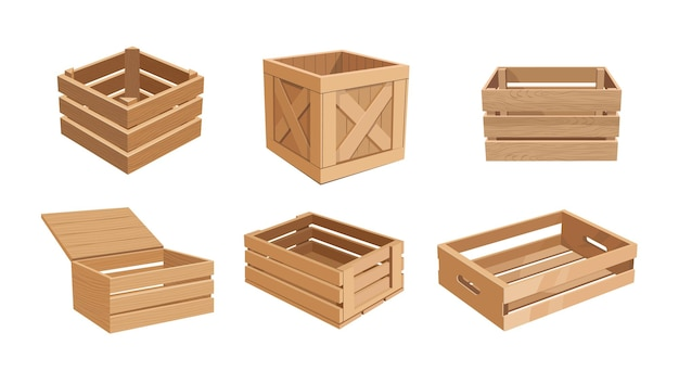 Set of wooden boxes, cargo distribution packs