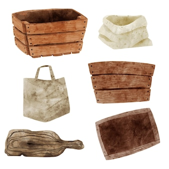 Set of wooden boxes tote and paper bags