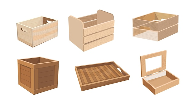 Set of wooden boxes, wood drawers and crates for freight shipping
