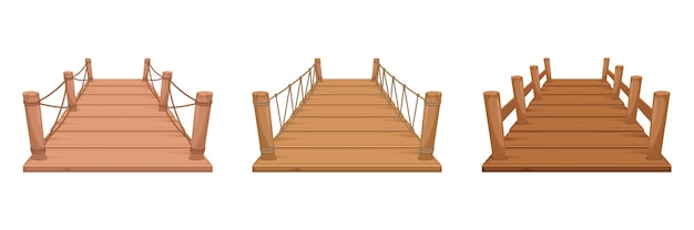 Set of wooden bridge isolated on white