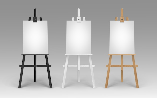 Set of wooden brown black white sienna easels