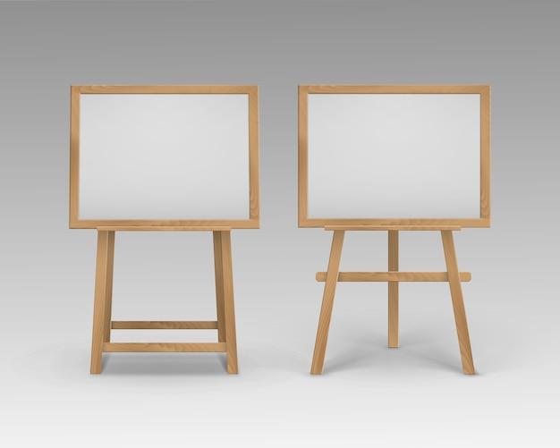 Set of wooden brown sienna art boards easels