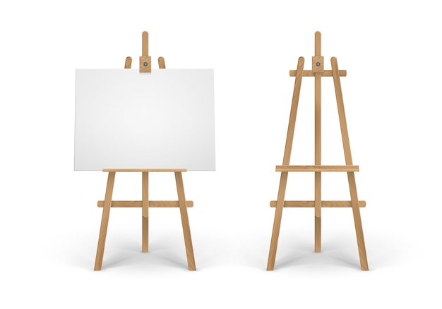 Set of wooden brown sienna easel with empty canvases Premium Vector