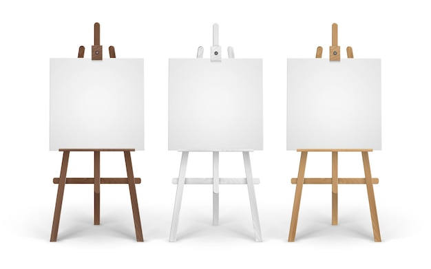 Set of wooden brown white sienna easels with empty canvases