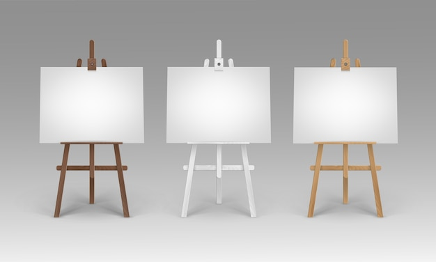 Set of wooden brown white sienna easels