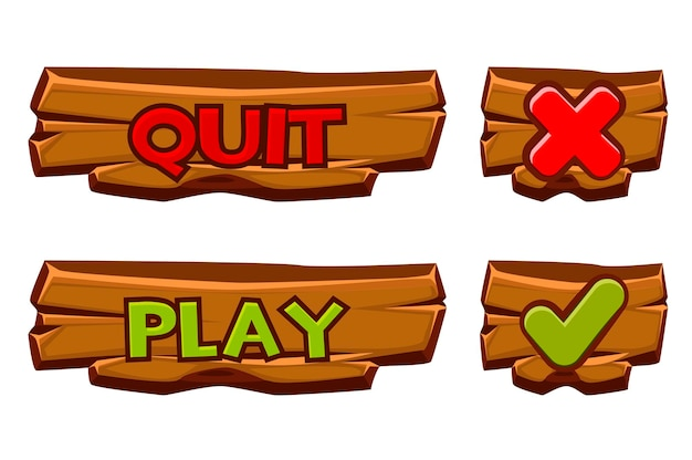 Set of wooden buttons play and quit. isolated icons check mark and cross for games menu.