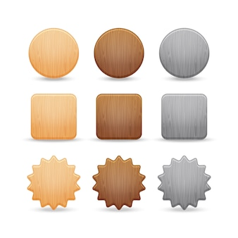 Set of wooden buttons