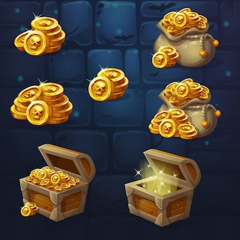 Set of wooden chests with coins for the game ui.
