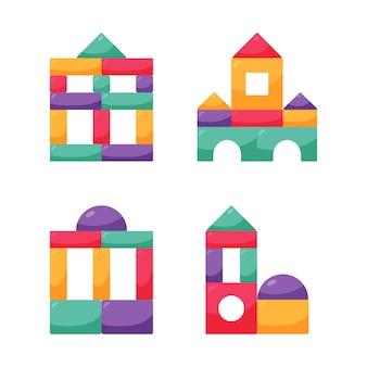 木製のカラーキューブのおもちゃを設定します。子供のためのビルディングブロック。子コンストラクター。ベクトルイラスト。