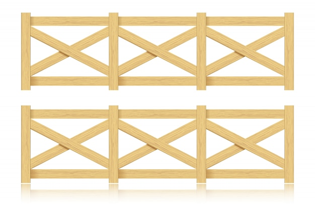 A set of wooden fence. isolated.
