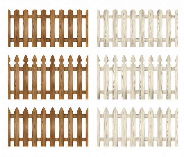 Set of wooden fence. white and brown fences illustration