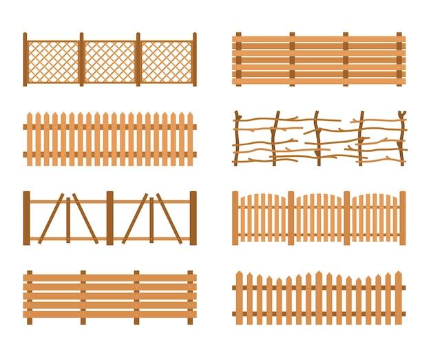 木製のフェンスを設定します。さまざまな庭のフェンス。田舎のフェンスの木板シルエット構造