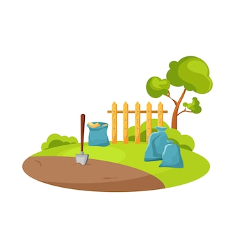 A set of wooden fences of different types. vector cartoon illustration.