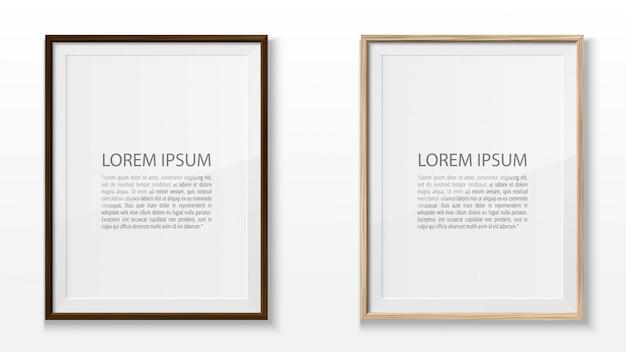 Set of wooden frames on white background. realistic illustration.