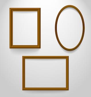 Set of wooden frames