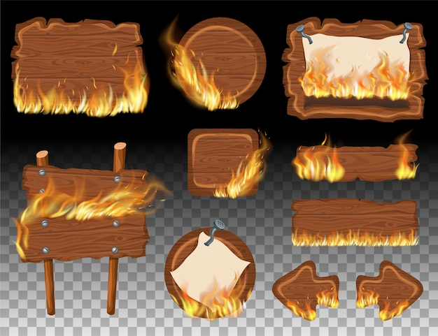 Set wooden game panels with flame burn.