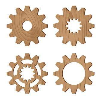 Set of wooden gear wheels on white, vector illustration
