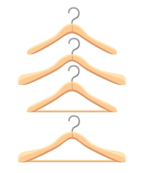 Set of wooden hanger. four different hangers.   .  illustration  on white background. web site page and mobile app.