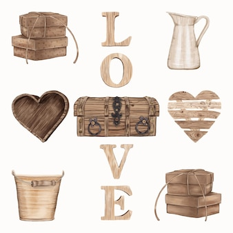 Set of wooden items for valentine's day