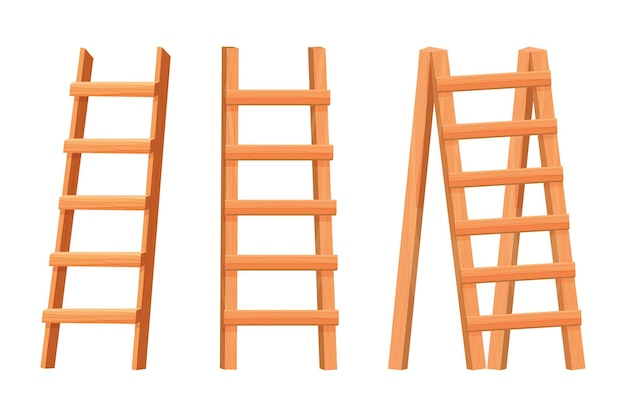 Set wooden ladder in flat cartoon style isolated on white background