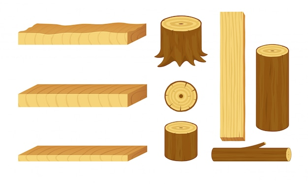 Set of wooden logs, stumps, branches, trunks and boards. materials for forestry and lumber industry.