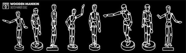 Set of wooden manikin views. marker effect drawings. editable silhouettes.