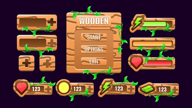 Set of wooden nature game ui kit board pop up interface, bar, additional panel, and gui