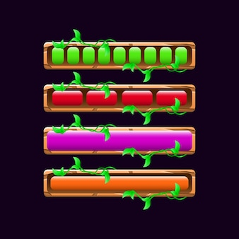 Set of wooden nature game ui loading bar in various colors and style for gui asset elements