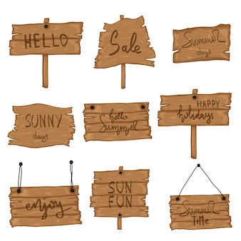 Set wooden old sign in retro cartoon style isolated on white background. beach party, sales, hello summer