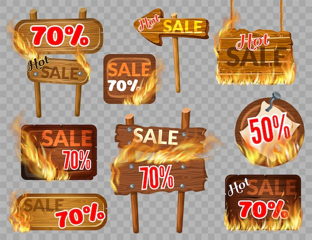 Set wooden panels hot sale with flame burn.