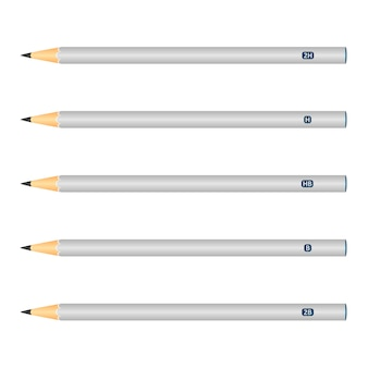 Set of wooden pencils, grey color, isolated