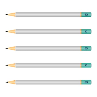 Set of wooden pencils isolated
