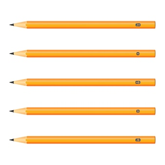 Set of wooden pencils yellow color on white background
