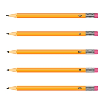 Set of wooden pencils yellow color with eraser on white background