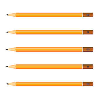 Set of wooden pencils yellow color