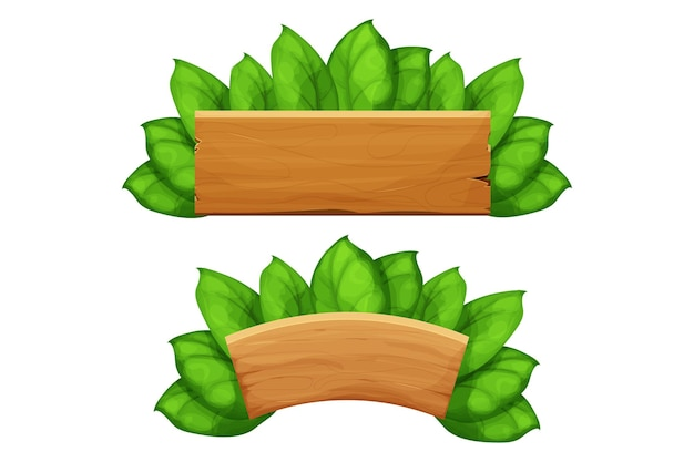Set wooden plank billboard frames with leaves exotic jungle decoration in cartoon style