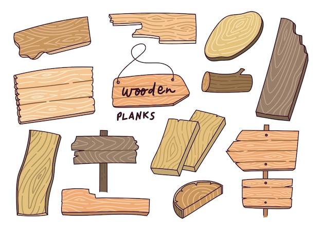 Set of wooden plank design element
