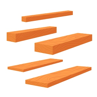 Set of wooden planks, stack of bars and lumber beam, pile of wooden logs timber. planks for construction flat illustration