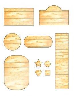 Set of wooden plaques of different shapes