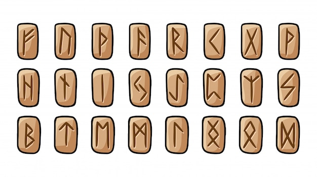 Set of wooden runes. collection of hand drawn doodles of carved runic symbols on wood. vector illustration of celtic glyphs