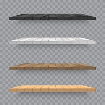 Set of wooden shelves on transparent background