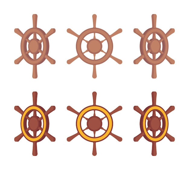 Set of wooden ship steering wheels in different sides