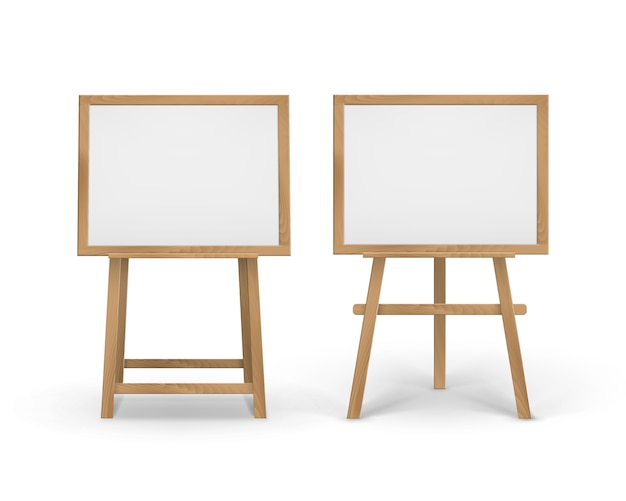 Set of wooden sienna boards easels with empty canvases