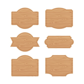 Set of wooden sign boards for sales prices